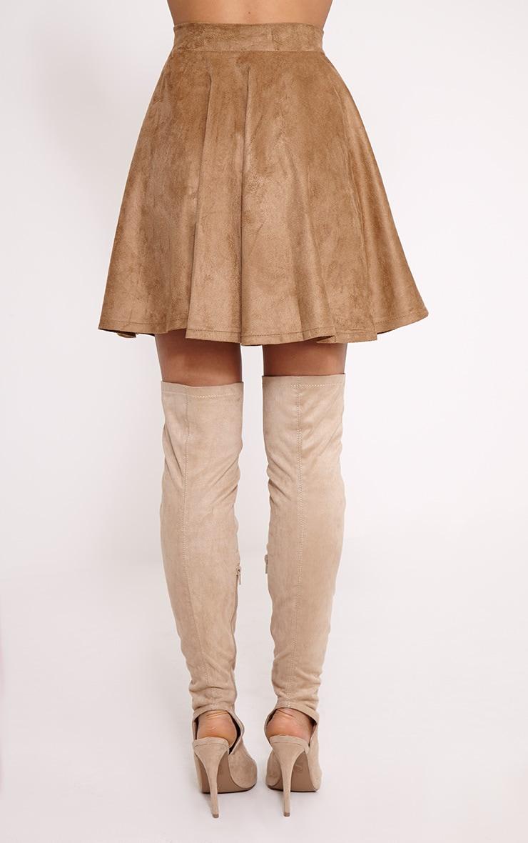 Barbra Tan Faux Suede Skater Skirt 4
