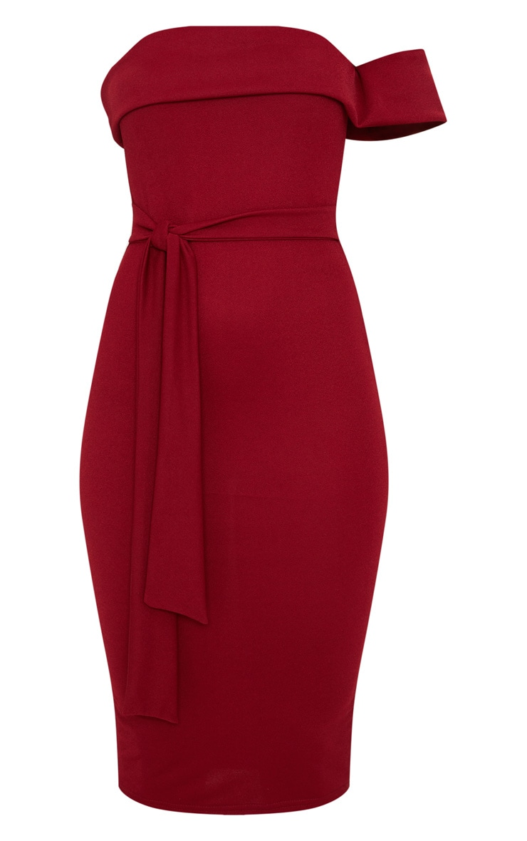 Burgundy One Shoulder Bardot Tie Detail Midi Dress 3