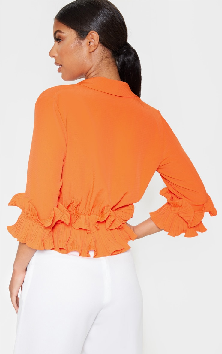 Orange Frill Detail Pleated Blouse 2