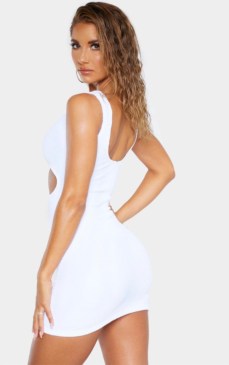 White Crinkle Cut Out Beach Dress 2