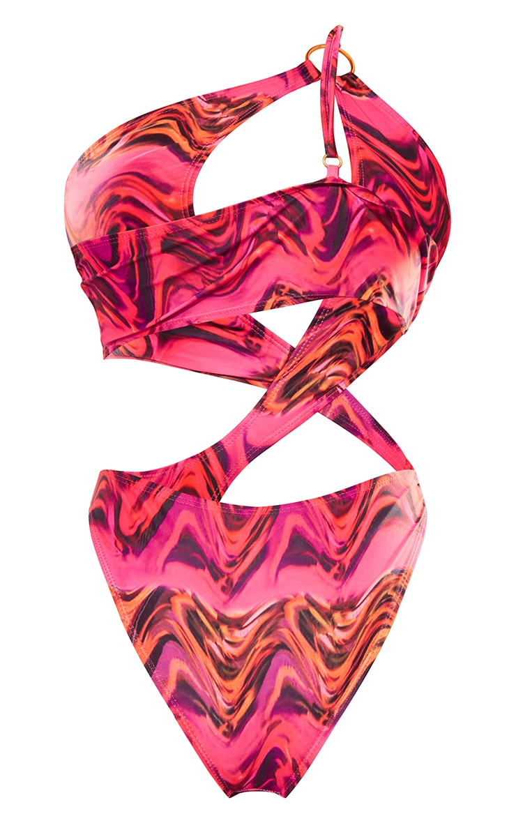 Black Wavy Print Ring Cut Out Swimsuit 5