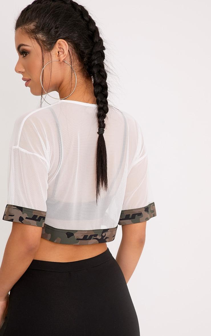 Kyla White Mesh Camo Trim Crop T Shirt 2