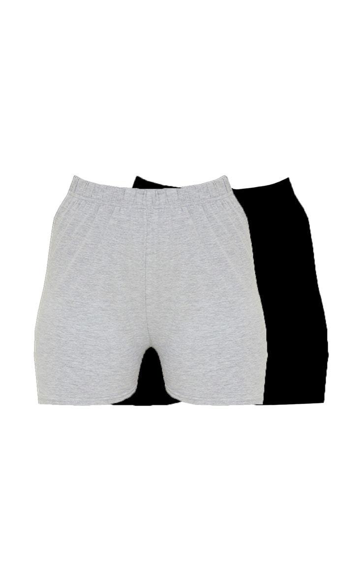 Black and Grey Jersey 2 Pack Hot Pants 6