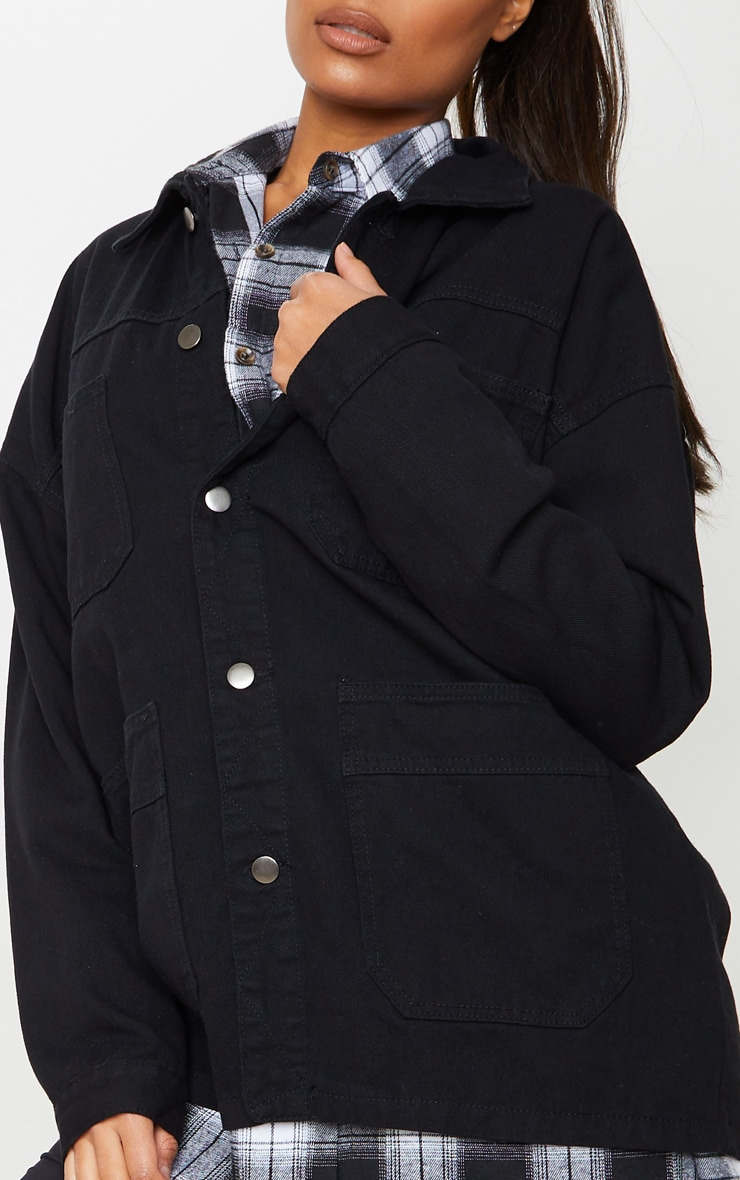 Black 4 Pocket Utility Long Denim Jacket 5