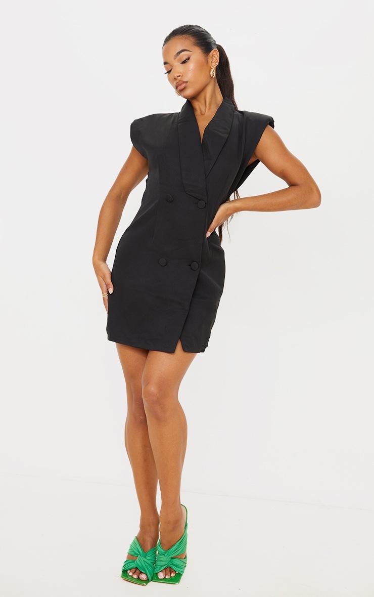 Black Sleeveless Shoulder Pad Blazer Dress 3
