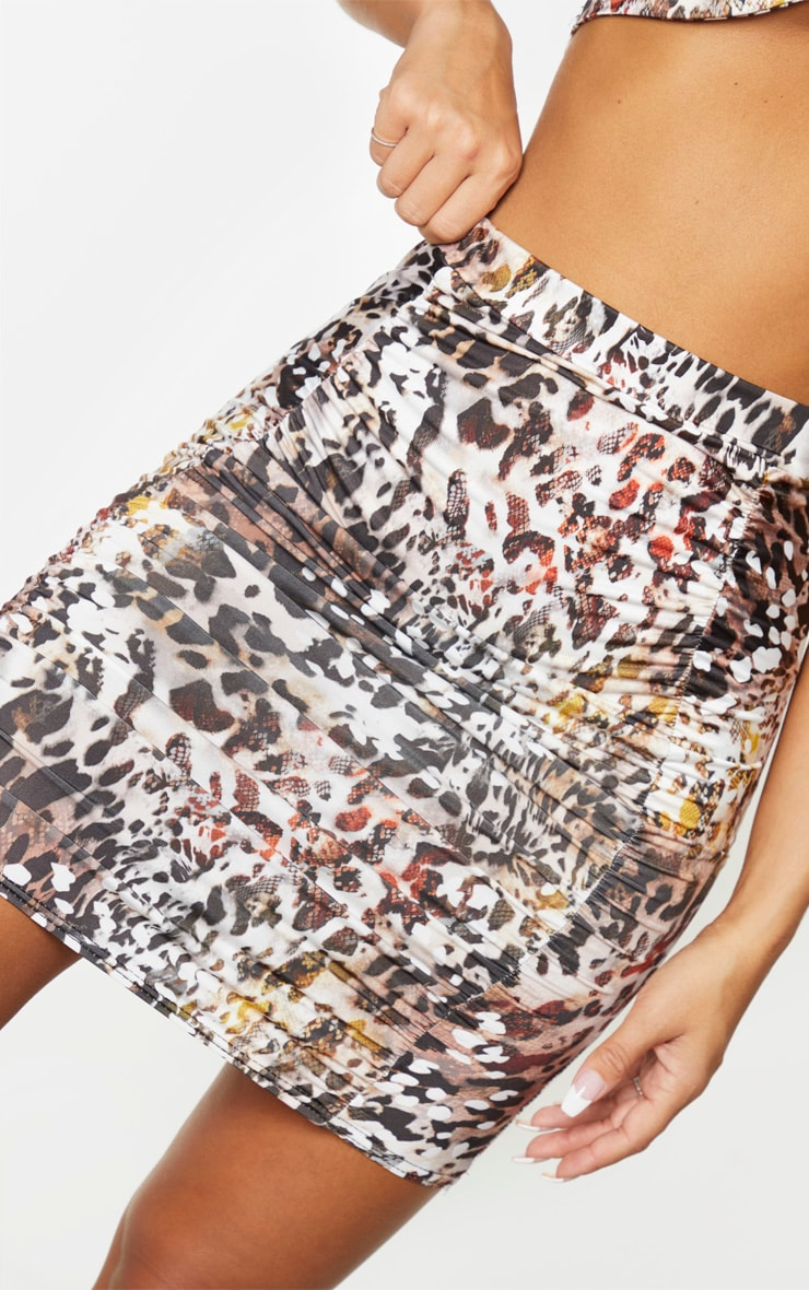 Brown Print Slinky Ruched Front Mini Skirt 6