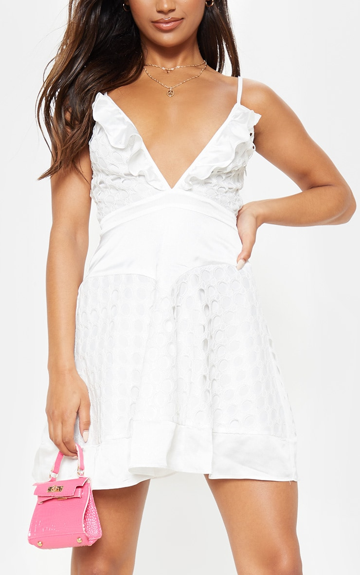White Lace Strappy Skater Dress 5