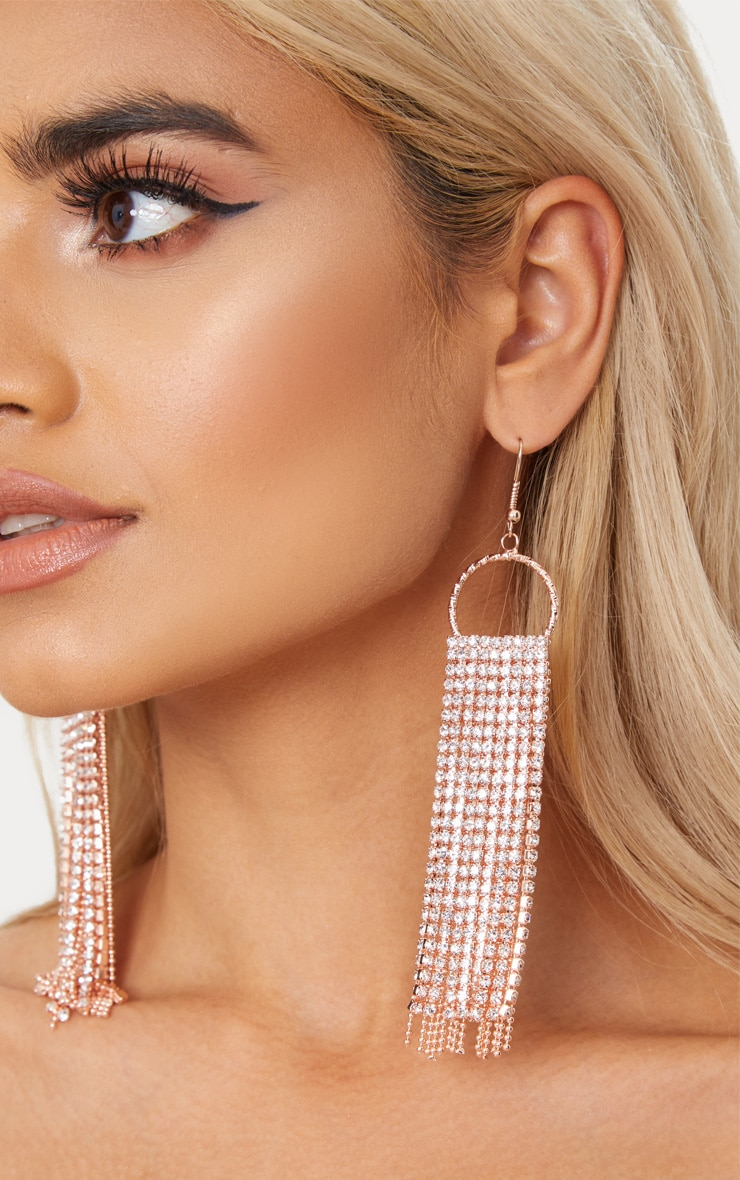 Rose Gold Diamante Tassel Earrings 1