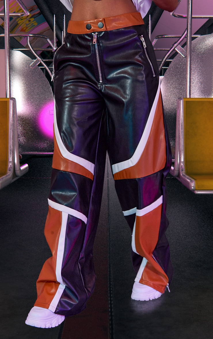 Pantalon ample noir à parties en similicuir 3