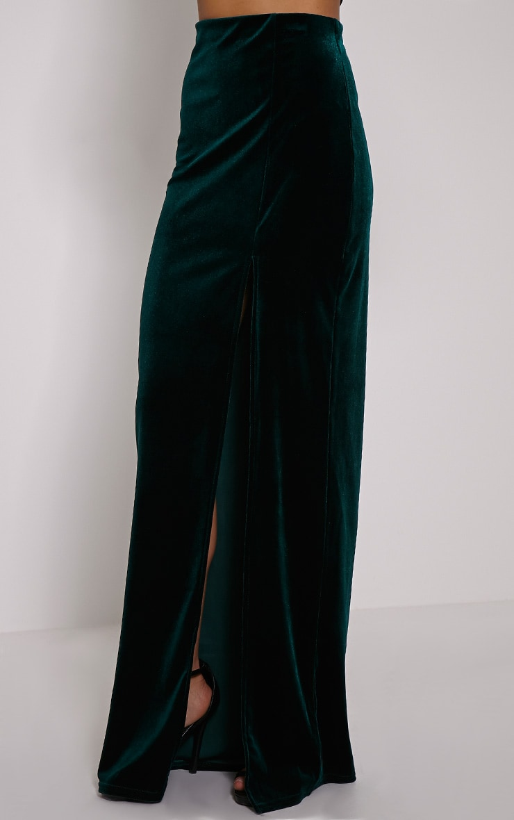 Caitlin Bottle Green Velvet Side Split Maxi Skirt 3