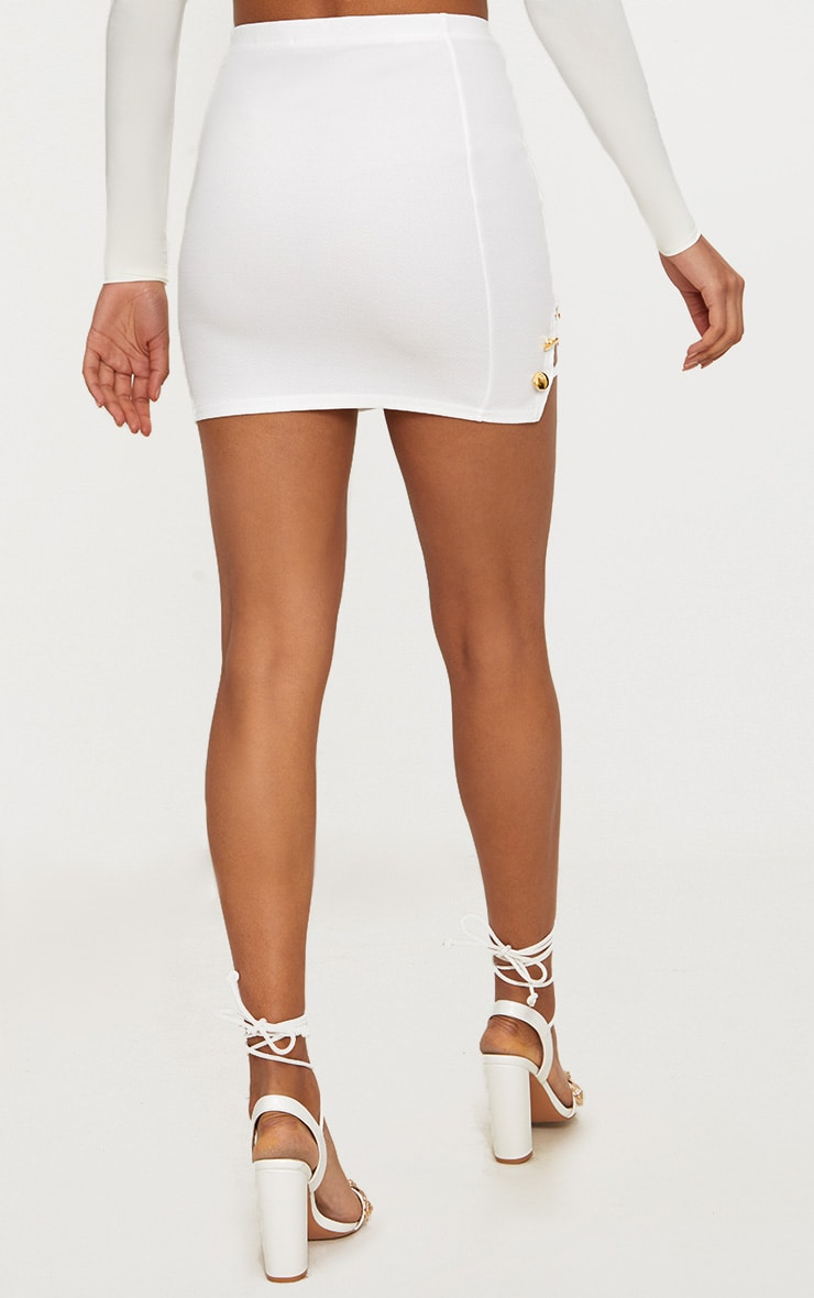 White Split Detail Mini Skirt 4