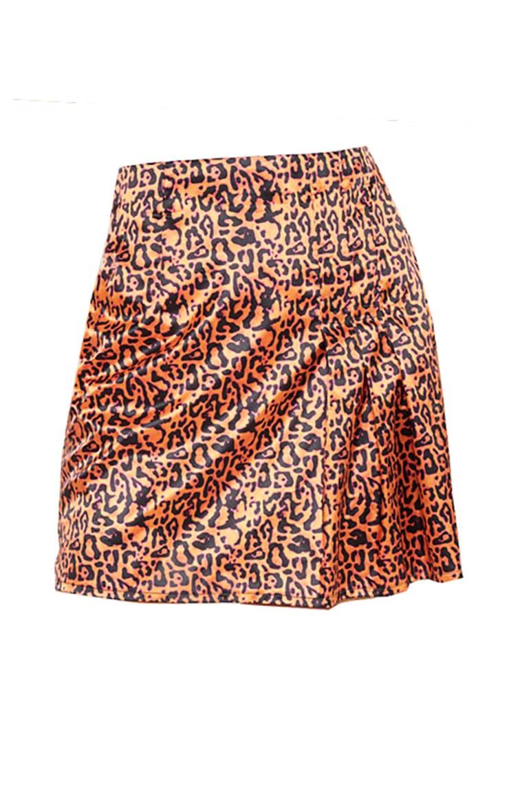 Orange Neon Leopard Print Pleat Detail Mini Skirt 3