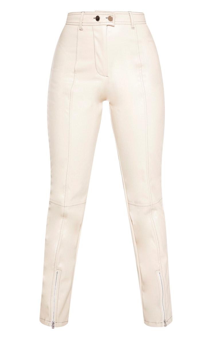 Cream Contrast Stitch PU Straight Leg Pants  3