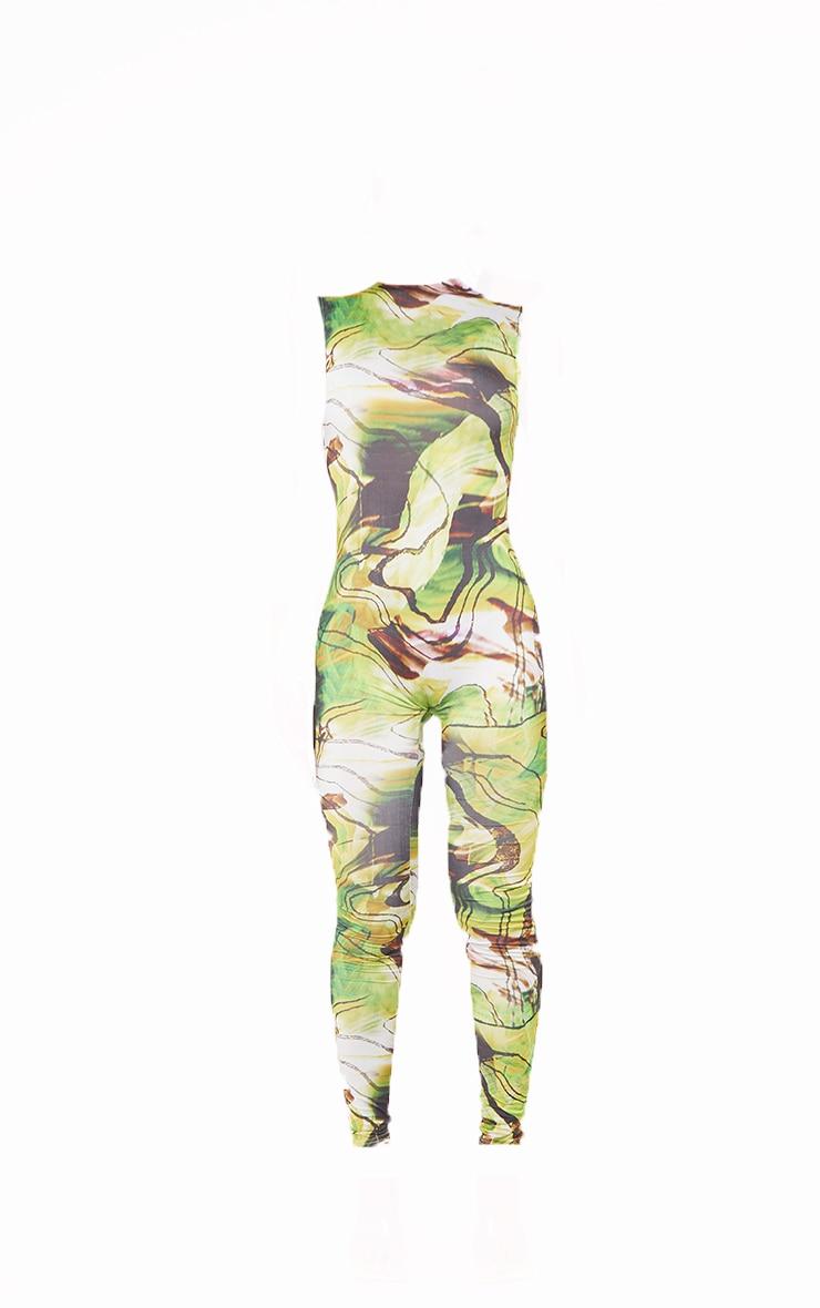 Green Marble Print High Neck Sleeveless Jumpsuit 5