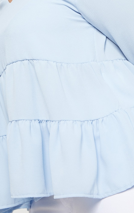 Plus Baby Blue Plunge Tiered Shirt 5
