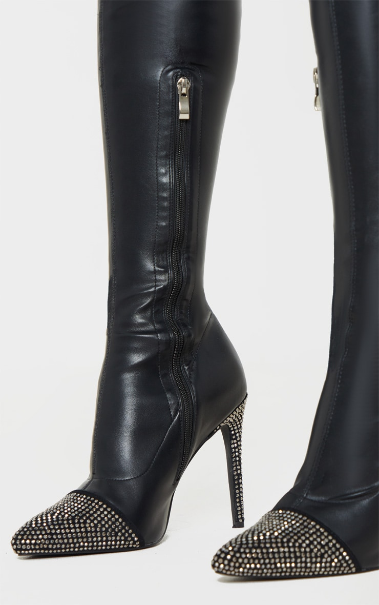 Black Diamante Embellished Thigh High Sock Boot 4