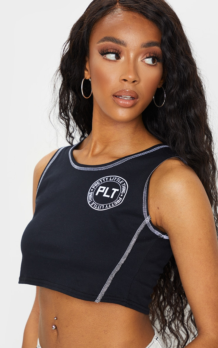 PRETTYLITTLETHING Black Contrast Hem Racer Crop Top 1
