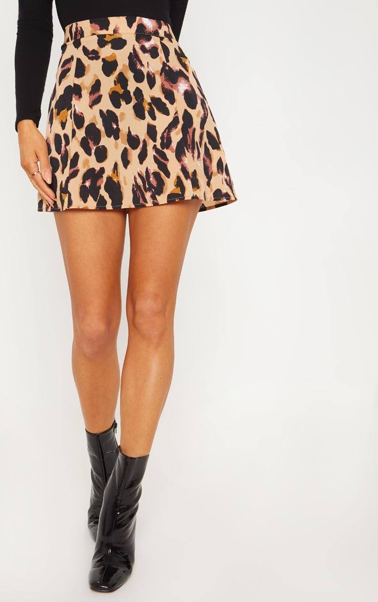 Leopard Print Satin Mini Skirt 2