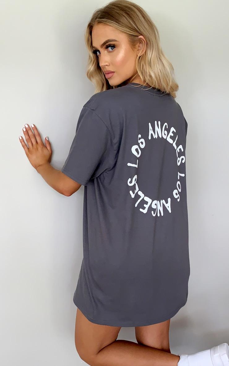 Charcoal La Oversized T Shirt 1