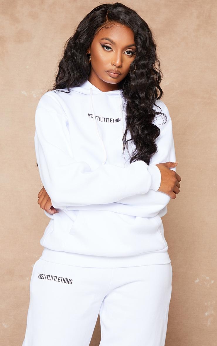 PRETTYLITTLETHING White Embroidered Slogan Hoodie 2