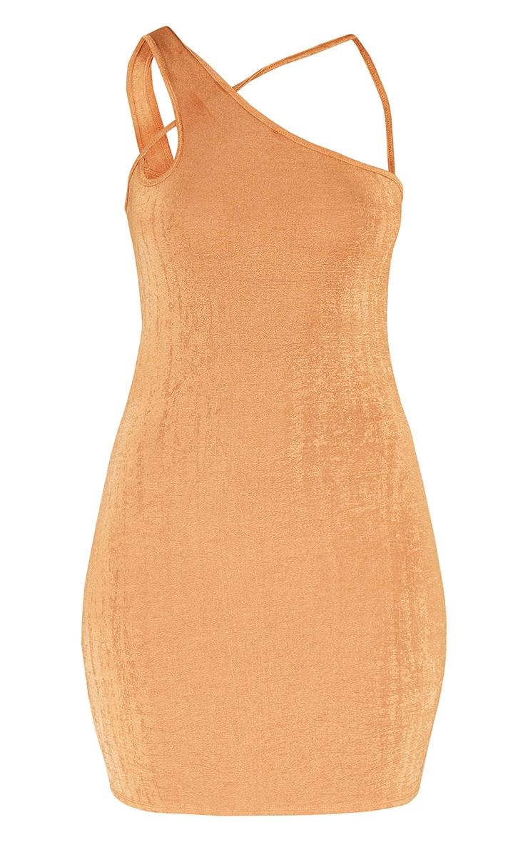 Toffee Textured Slinky One Shoulder Asymmetric Strap Detail Bodycon Dress 5