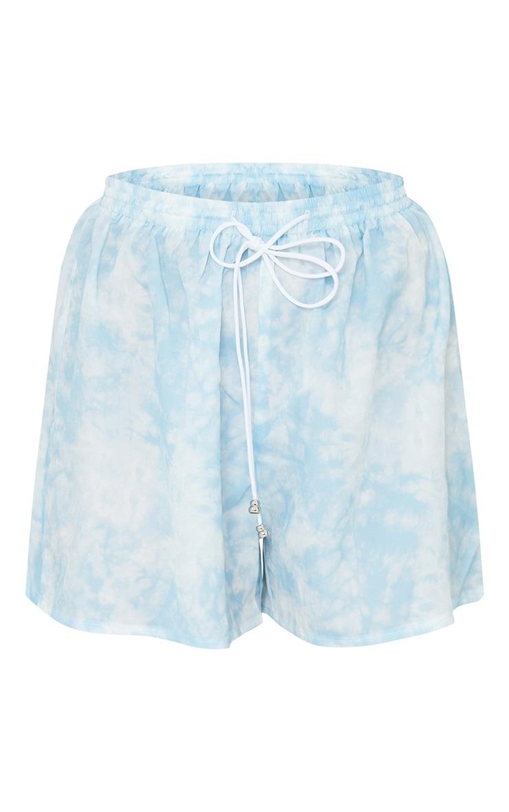 Petite Blue Tie Dye Print Floaty Shorts 6