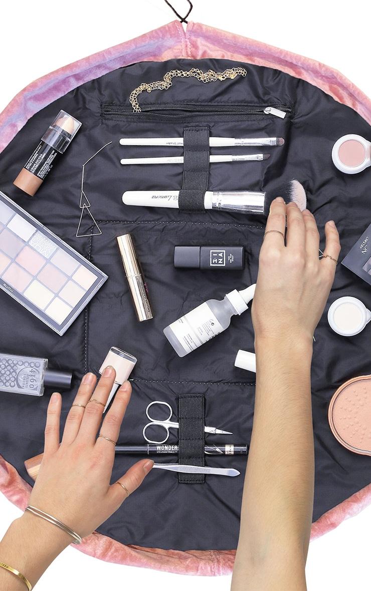 The Flat Lay Co Makeup Bag Pink Velvet 2