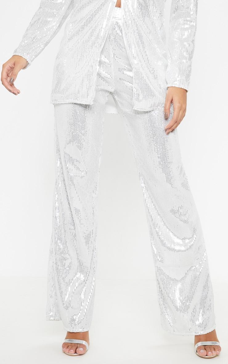 Silver Sequin Wide Leg Pants 2