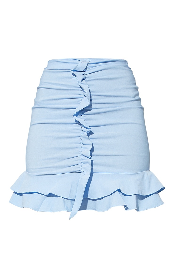 Blue Woven Stretch Ruched Front Mini Skirt 6