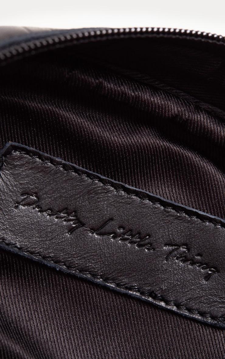 Black Real Leather Croc Cross Body Bag 3