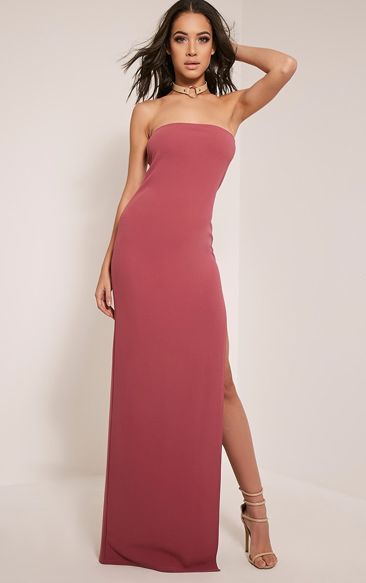 Marie Rose Extreme Split Bandeau Maxi Dress 1