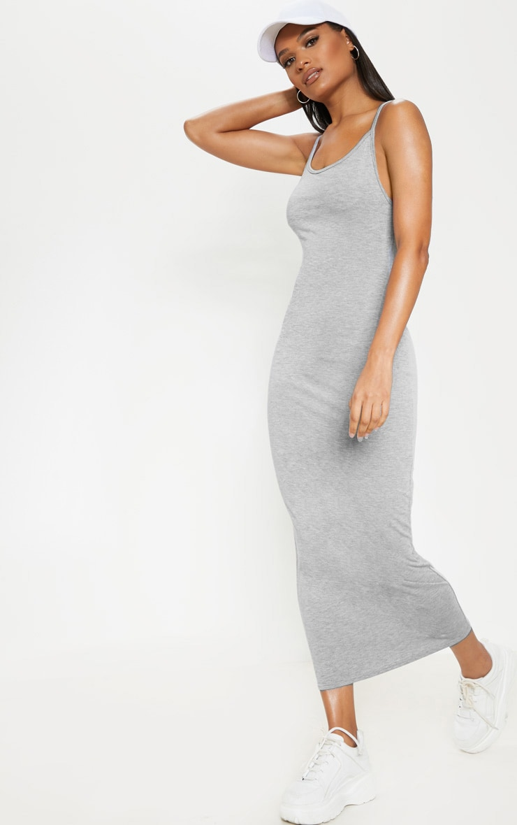 Grey Drop Arm Hole Vest Maxi Dress 4