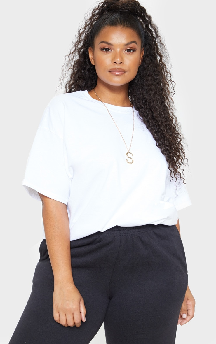 Plus White Oversized Boxy T Shirt 1