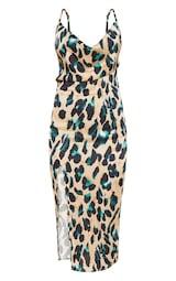 Tan Strappy Satin Leopard Print Cowl Midi Dress 3