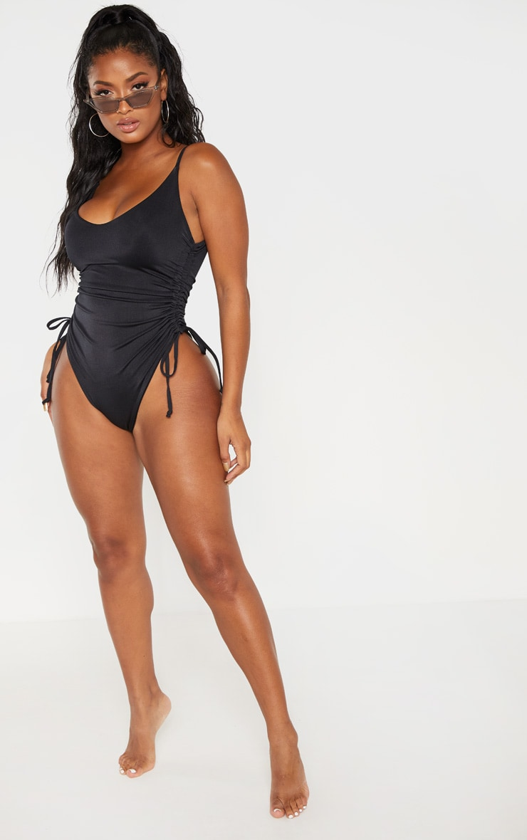 Shape Black Ruched Side High Rise Swimsuit 3