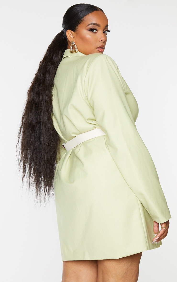 Plus Sage Green Oversized Blazer Dress 2