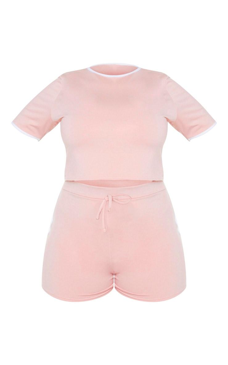 PRETTYLITTLETHING Plus - Ensemble de pyjama rose pâle short + tee-shirt 5
