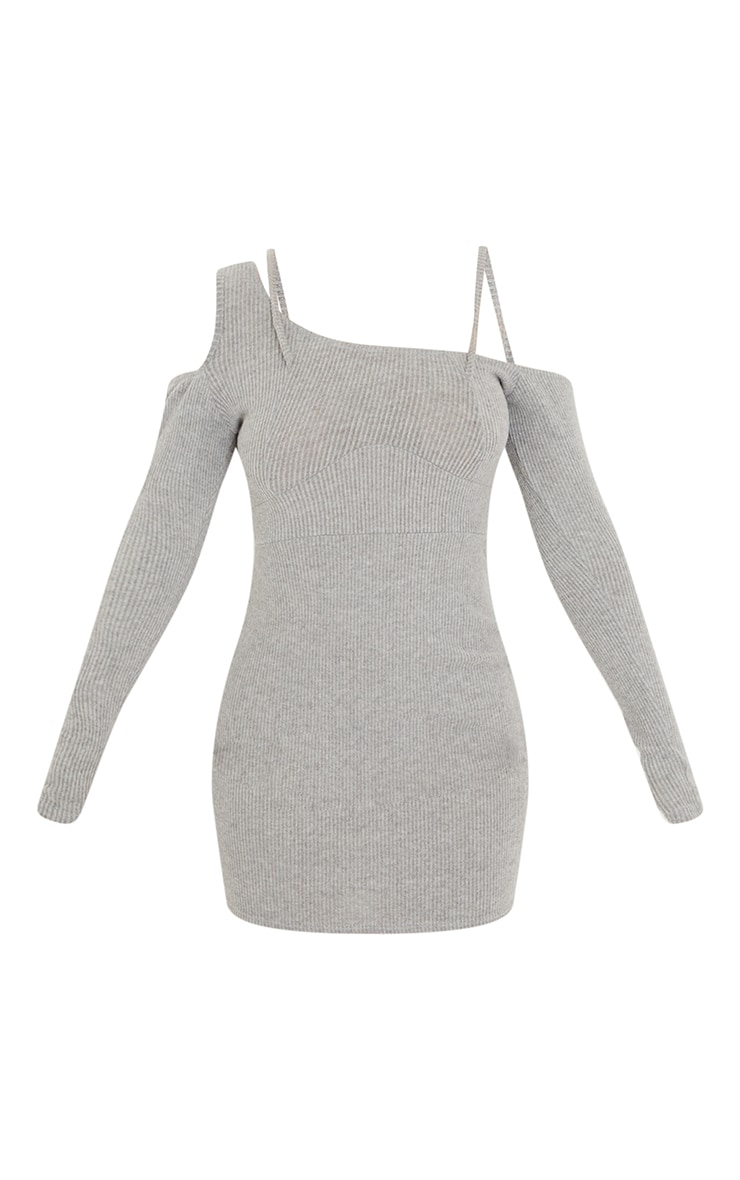 Grey Brushed Rib Cold Shoulder Strap Detail Bodycon Dress 5