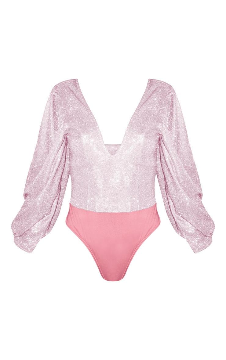 Baby Pink Glitter Plunge Puff Sleeve Bodysuit  3