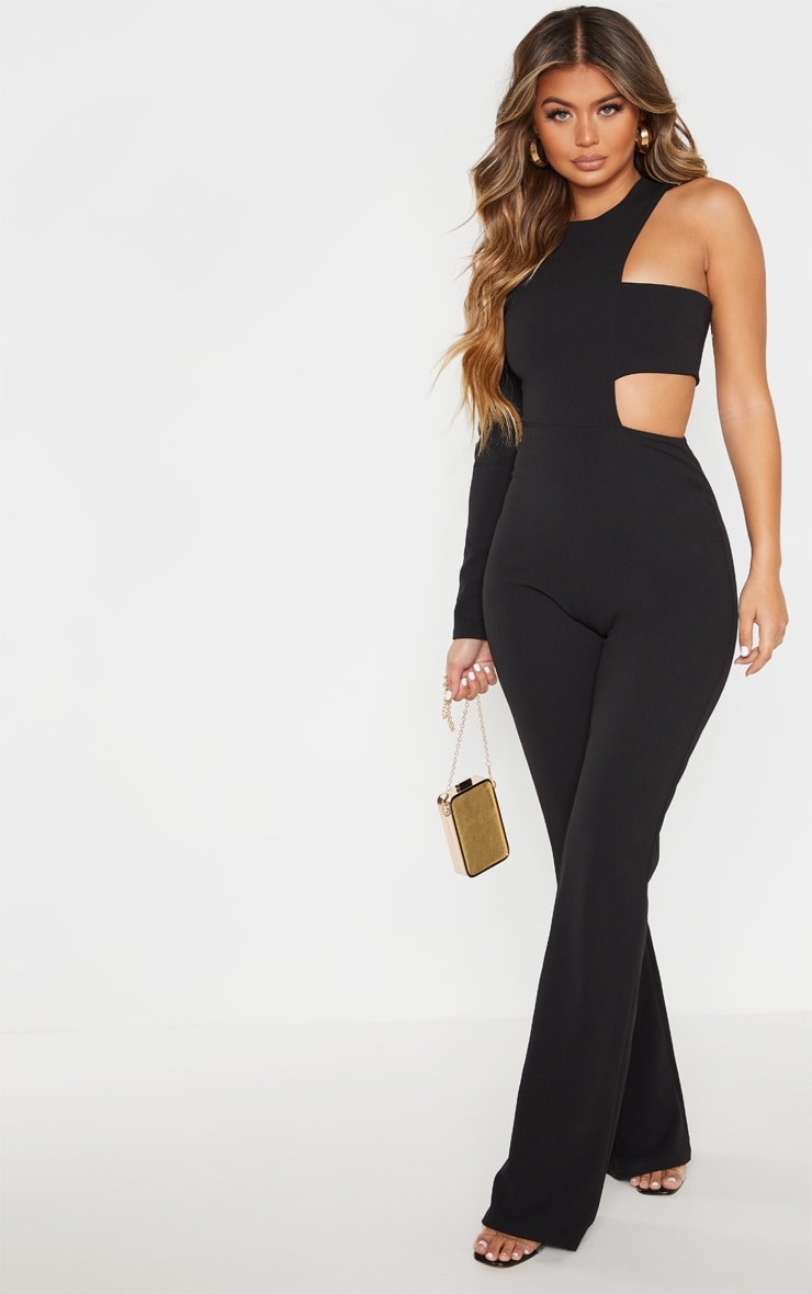 Black One Shoulder Flare Leg Jumpsuit 4