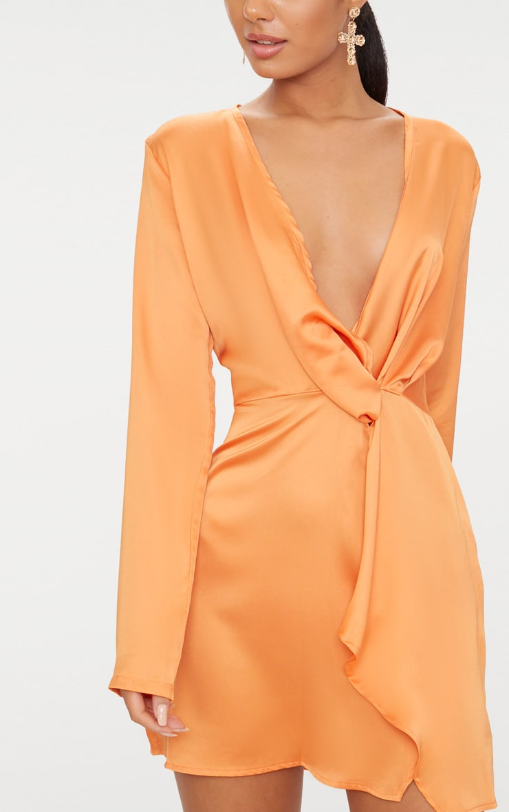 Tangerine Satin Long Sleeve Wrap Dress 5