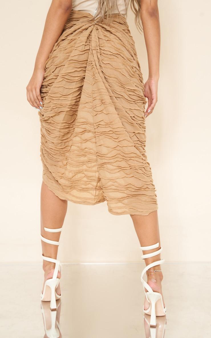 Stone Textured Dip Waist Ruched Midi Skirt 3