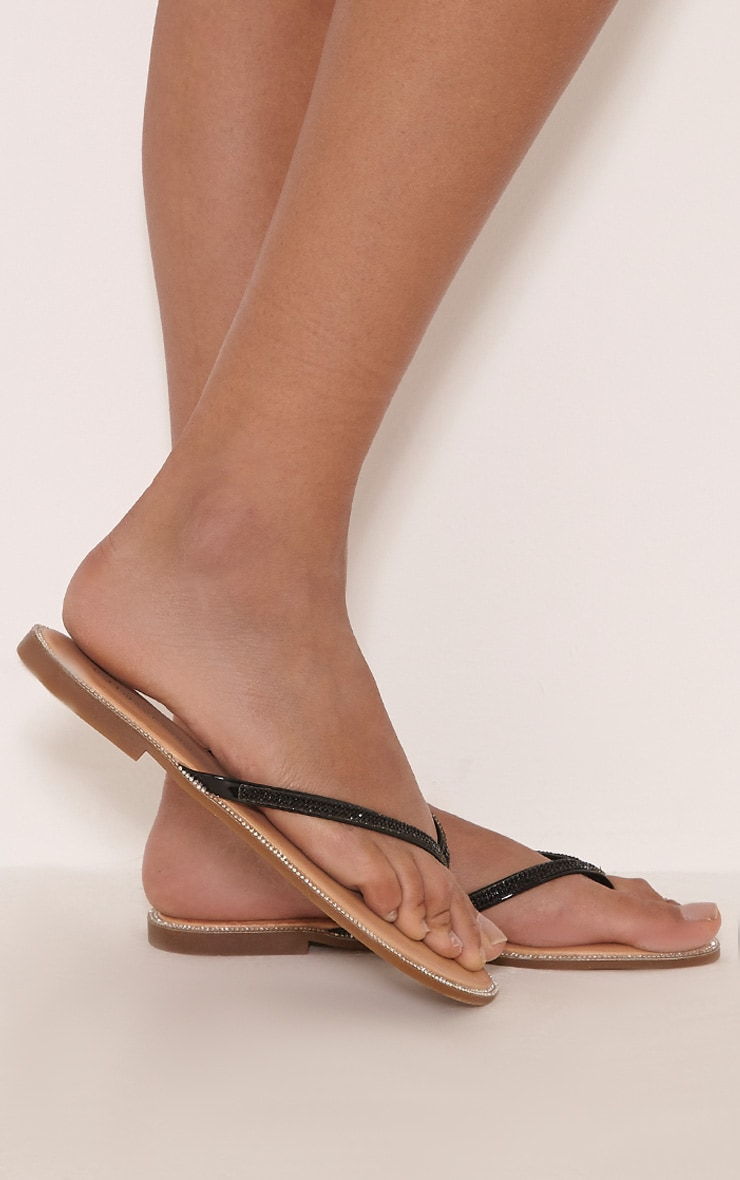 Ashlea Black Diamante Flip Flops 4
