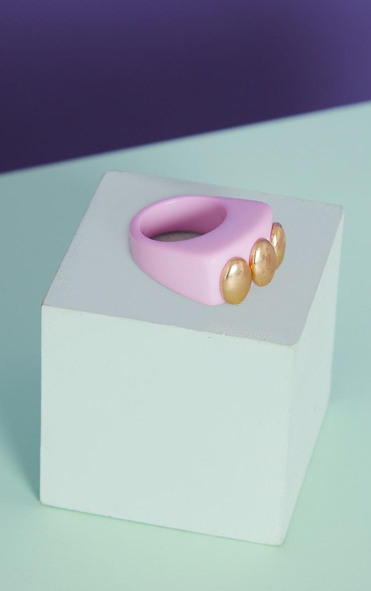 Pink Triple Gold Ball Resin Ring 4