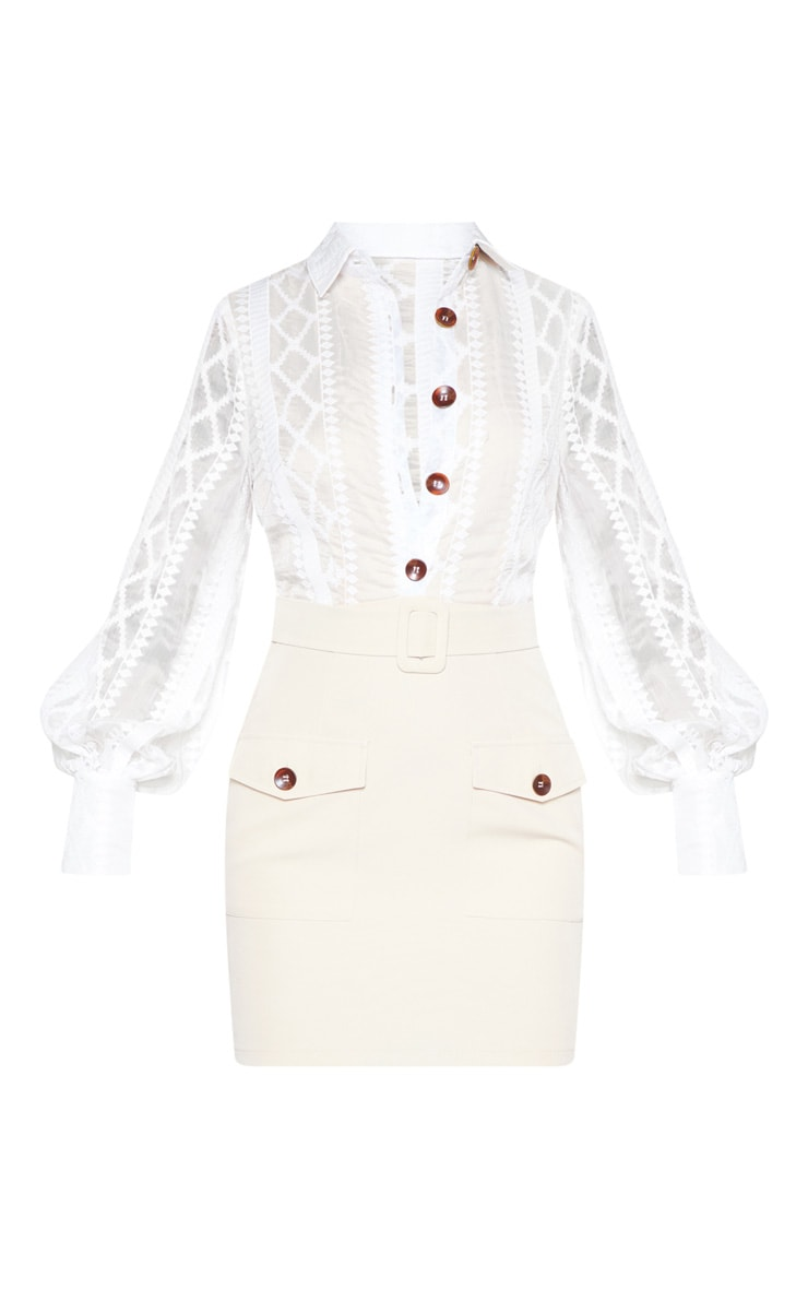 White Lace Button Up Bodycon Dress 4