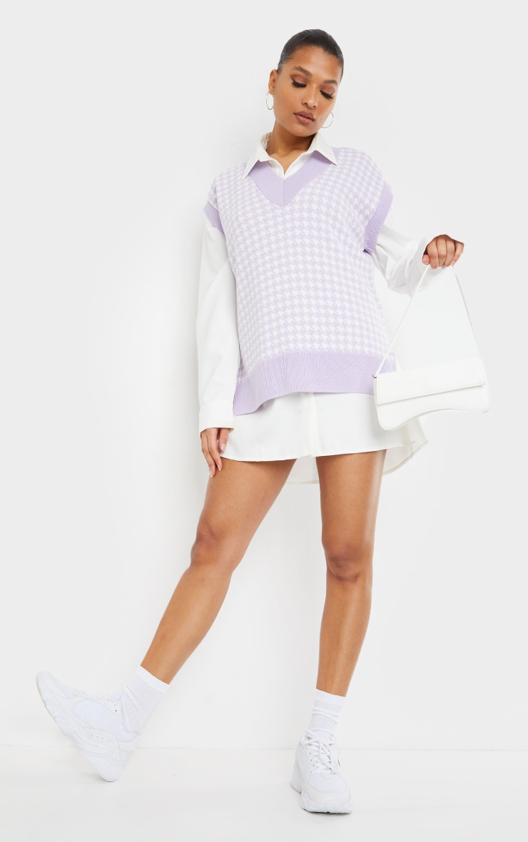 Lilac Dogstooth V Neck Knitted Side Split Vest 3