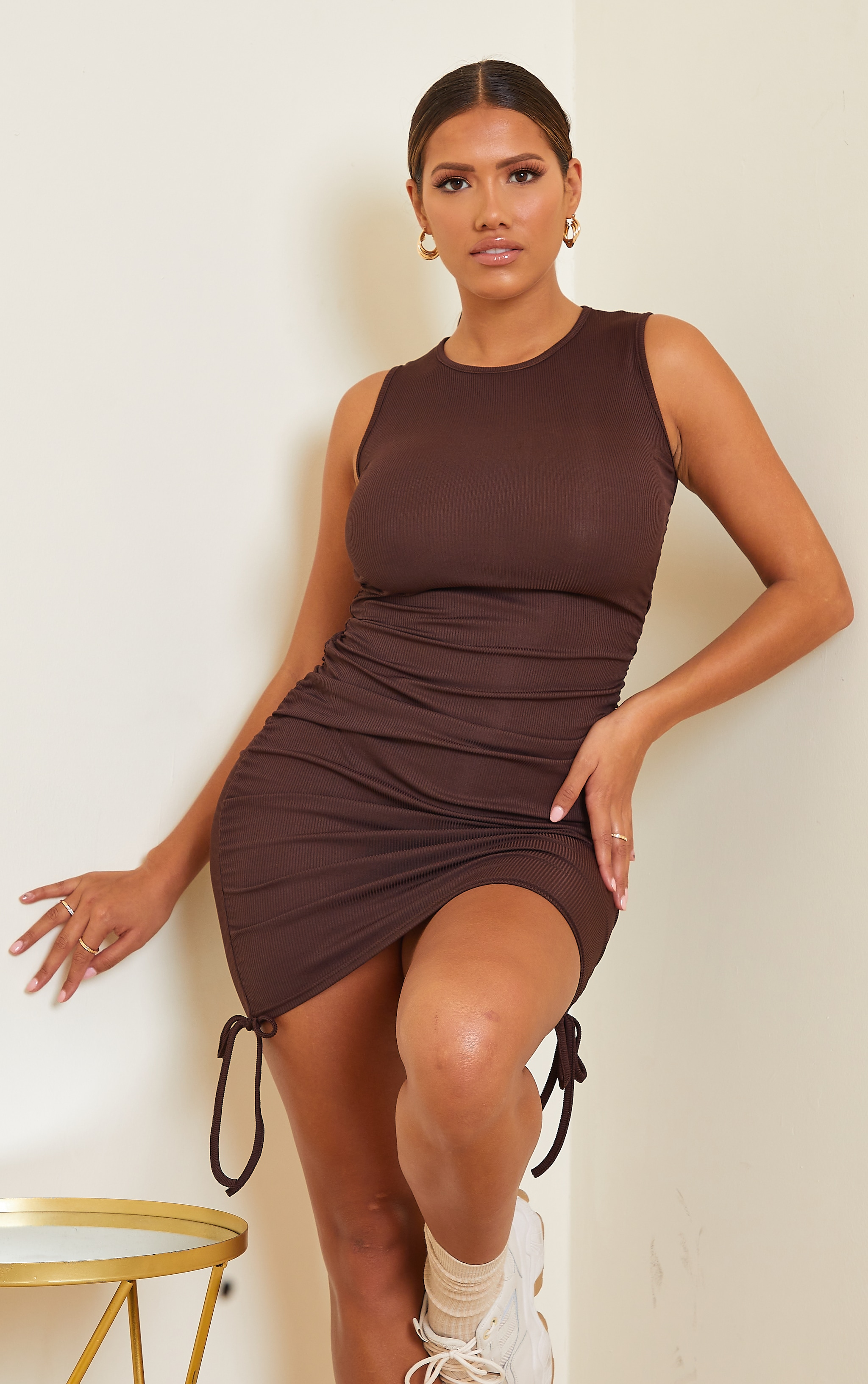 Shape Chocolate Brown Rib Ruched Side Sleeveless Bodycon Dress 1