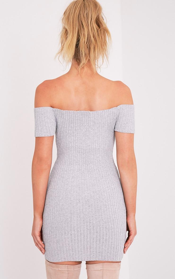 Jordi robe mini bardot grise tricotée et côtelée 2