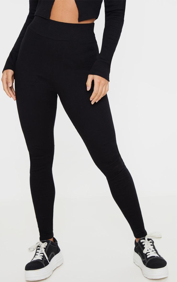 Petite Black Ribbed High Waisted Legging 2