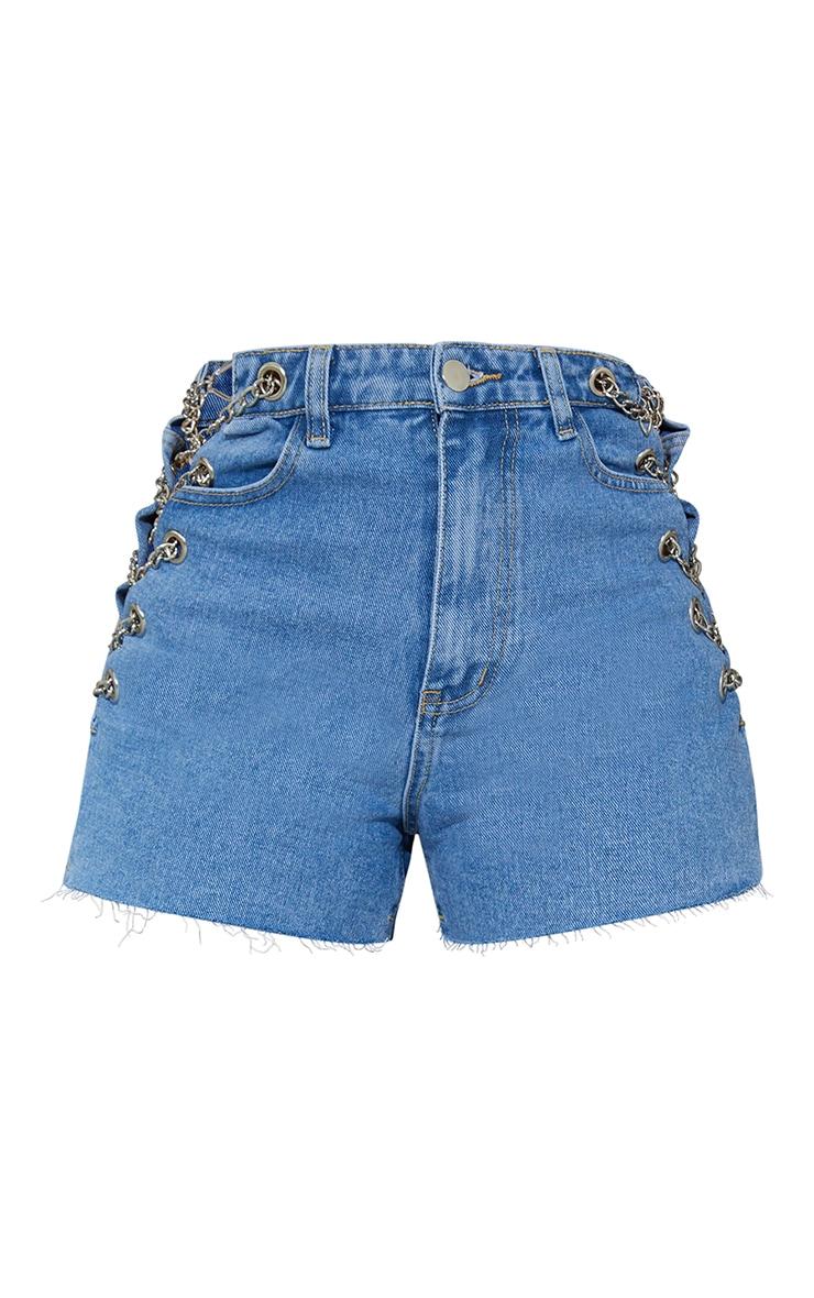 Light Blue Wash Chain Detail Denim Mom Shorts 6